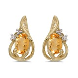 10k Yellow Gold Oval Citrine And Diamond Teardrop Earrings 0.66 CTW