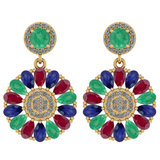 6.04 Ctw I2/I3 Emerald,Ruby,Blue Sapphire And Diamond 14K Yellow Gold Earrings