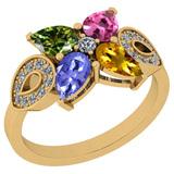1.24 Ctw SI2/I1 Multi Sapphire,Tanzanite And Diamond 14K Yellow Gold Stylish Bridal Wedding Ring