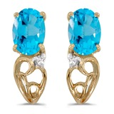14k Yellow Gold Oval Blue Topaz And Diamond Earrings 0.81 CTW
