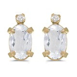 14k Yellow Gold Oval White Topaz And Diamond Earrings 0.98 CTW