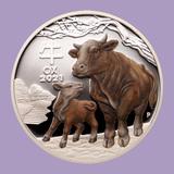 2021 AUS 1 oz Silver Lunar Ox Proof Colorized (w/box & COA)