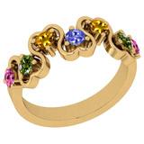 0.70 Ctw SI2/I1 Multi Sapphire ,Tanzanite Style Prong Set 14K Yellow Gold Eternity Band Ring