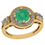 1.75 Ctw Emerald And Diamond I2/I3 14K Yellow Gold Vintage Style Ring