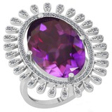 11.04 Ctw VS/SI1 Amethyst And Diamond 14k White Gold Victorian Style Ring
