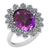 6.14 Ctw Amethyst And Diamond SI2/I1 14k White Gold Victorian Style Ring