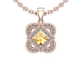 1.66 Ctw VS/SI1 Citrine And Diamond 10K Rose Gold Necklace