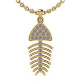 0.24 Ctw SI2/I1 Diamond 14K Yellow Gold Fish Pendant