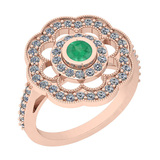 1.09 Ctw VS/SI1 Emerald And Diamond 14K Rose Gold Engagement Halo Ring