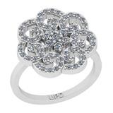 0.75 Ctw SI2/I1 Diamond 14K White Gold Vintage Style Engagement Ring