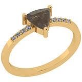 1.11 Ct Natural Salt Pepper Diamond I2/I3And White Diamond I2/I3 10K Yellow Gold Vintage Style Ring