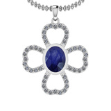 1.66 Ctw I2/I3 Blue Sapphire And Diamond 14K White Gold Necklace