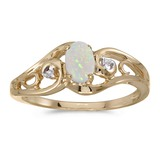 14k Yellow Gold Oval Opal And Diamond Ring 0.2 CTW