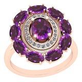 3.13 Ctw I2/I3 Amethyst And Diamond 10K Rose Gold Vintage Style Ring