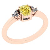 0.81 Ct GIA Certified Natural Fancy Yellow Diamond And White Diamond 14K Rose Gold Anniversary Ring