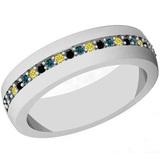0.16 Ctw I2/I3 Multi Treated Fancy yellow,Blue,Black diamond 14K White Gold Entertiy Band Ring