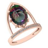 5.55 Ctw VS/SI2 Mystic Topaz And Diamond 14k Rose Gold Vingate Style Ring