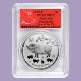 2019 Australia 1 oz Silver Lunar Pig MS-70 PCGS (FS, Red Label)