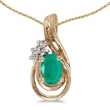 10k Yellow Gold Oval Emerald And Diamond Teardrop Pendant 0.35 CTW