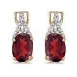 14k Yellow Gold Oval Garnet And Diamond Earrings 1.42 CTW