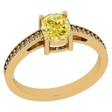 1.15 Ct GIA Certified Natural Fancy Yellow Diamond And White Diamond 18K Yellow Gold Engagement Ring
