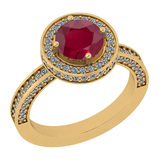 2.13 Ctw I2/I3 Ruby And Diamond 14K Yellow Gold Ring