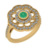 1.09 Ctw VS/SI1 Emerald And Diamond 14K Yellow Gold Engagement Halo Ring