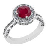 2.13 Ctw I2/I3 Ruby And Diamond 14K White Gold Ring