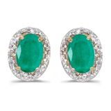 10k Yellow Gold Oval Emerald And Diamond Earrings 0.64 CTW