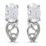 14k White Gold Oval White Topaz And Diamond Earrings 0.97 CTW