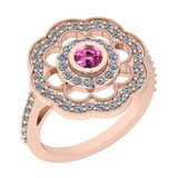 1.09 Ctw VS/SI1 Pink Tourmaline And Diamond 14K Rose Gold Engagement Halo Ring
