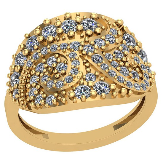 0.79 Ctw VS/SI1 Diamond 14K Yellow Gold Ring