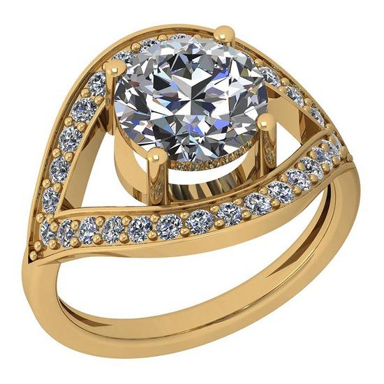 2.30 Ctw Diamond I2/I3 14K Yellow Gold Vintage Style Halo Ring