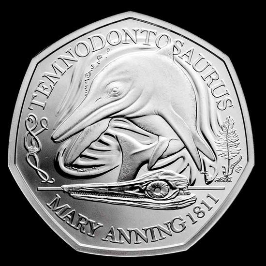 2021 Great Britain Silver Proof 50p Temnodontosaurus