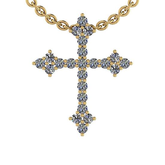 0.50 Ctw SI2/I1 Diamond 14K Yellow Gold Cross Pendant