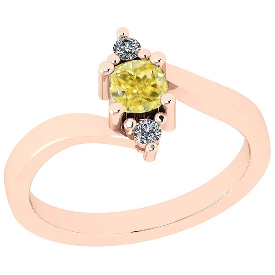 0.57 Ct GIA Certified Natural Fancy Yellow Diamond And White Diamond 14K Rose Gold vintage Style Rin