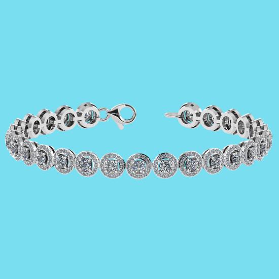 Certified 4.59 Ctw SI1/I2 Diamond 18K White Gold Bracelet
