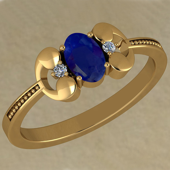 0.53 Ctw VS/SI1 Blue Sapphire And Diamond 14K Yellow Gold Vintage Style Ring