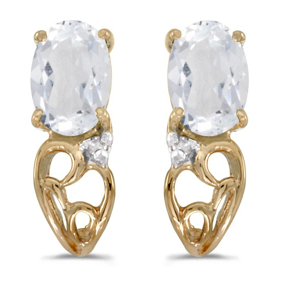 10k Yellow Gold Oval White Topaz And Diamond Earrings 0.97 CTW