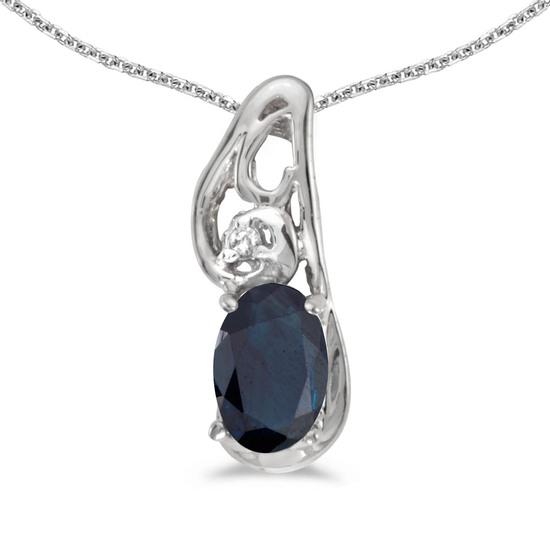 14k White Gold Oval Sapphire And Diamond Pendant 0.4 CTW