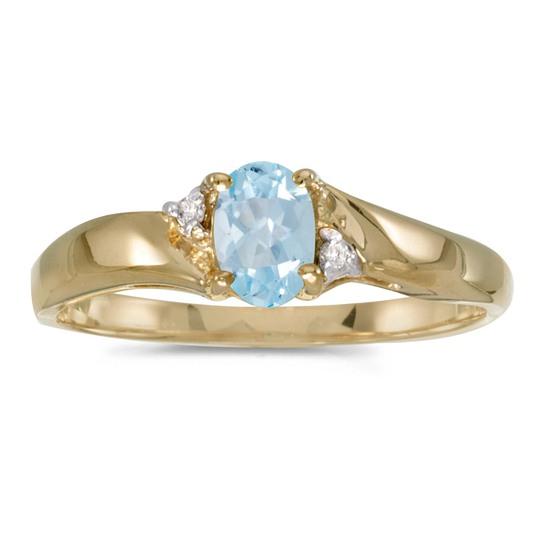 14k Yellow Gold Oval Aquamarine And Diamond Ring 0.31 CTW
