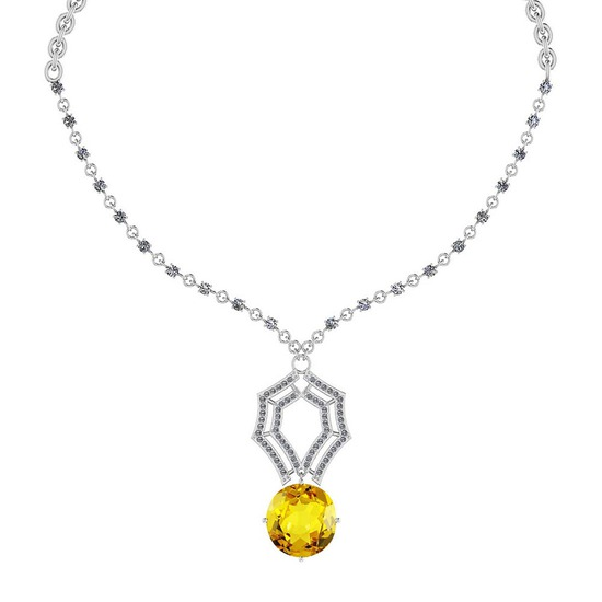 29.11 Ctw SI2/I1 Lemon Topaz And Diamond 14k White Gold Victorian Style Necklace