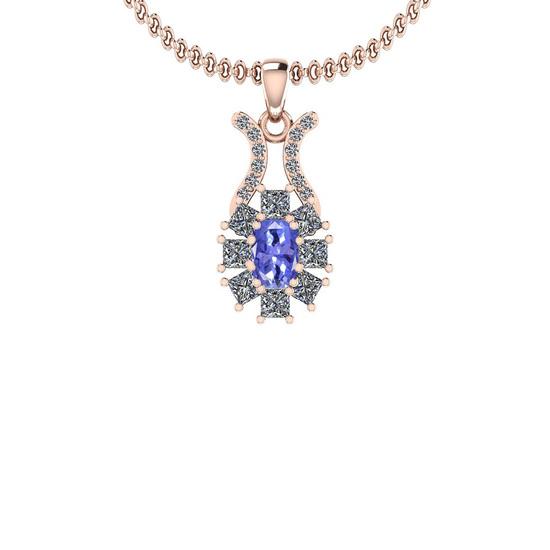 1.50 Ctw I2/I3 Tanzanite And Diamond 14K Rose Gold Necklace