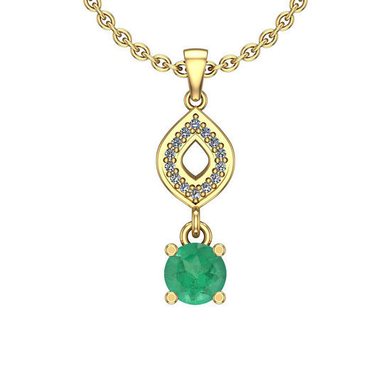1.08 Ctw Emerald And Diamond I2/I3 14K Yellow Gold Necklace