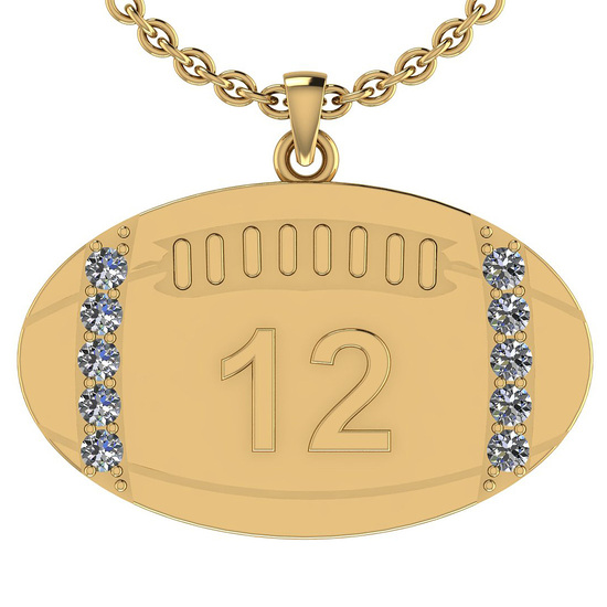 0.35 Ctw SI2/I1 Diamond 14K Yellow Gold Football Rugby Necklace