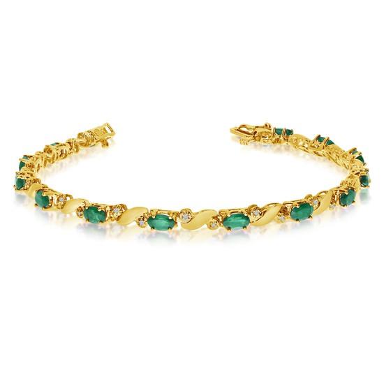 14k Yellow Gold Natural Emerald And Diamond Tennis Bracelet 2.23 CTW