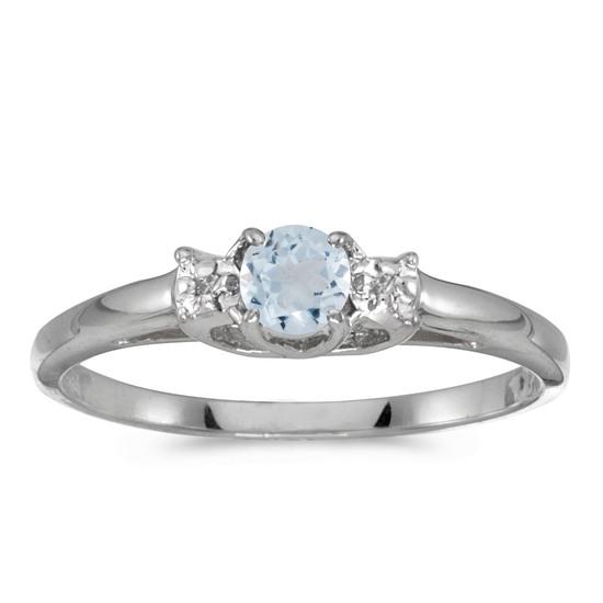 14k White Gold Round Aquamarine And Diamond Ring 0.2 CTW
