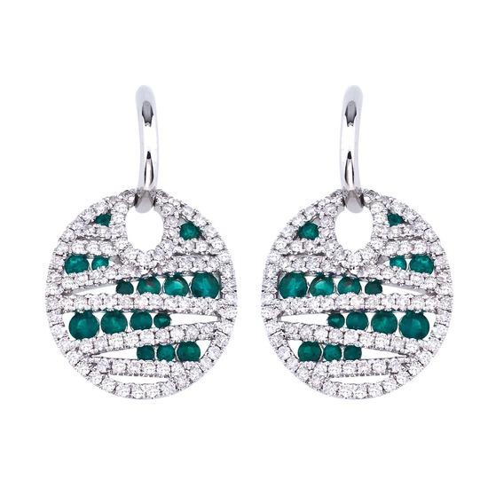 14k White Gold Emerald and Diamond Disc Earrings