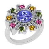 3.39 Ctw SI2/I1 Multi Sapphire,Tanzanite And Diamond 14K White Gold Vingate Style Wedding Halo Ring