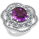 10.06 Ctw Amethyst And Diamond SI2/I1 14k White Gold Victorian Style Ring
